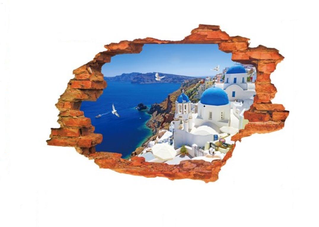Živá Zeď 3D Samolepka Výhled na Řecko %%90 x 60 cm