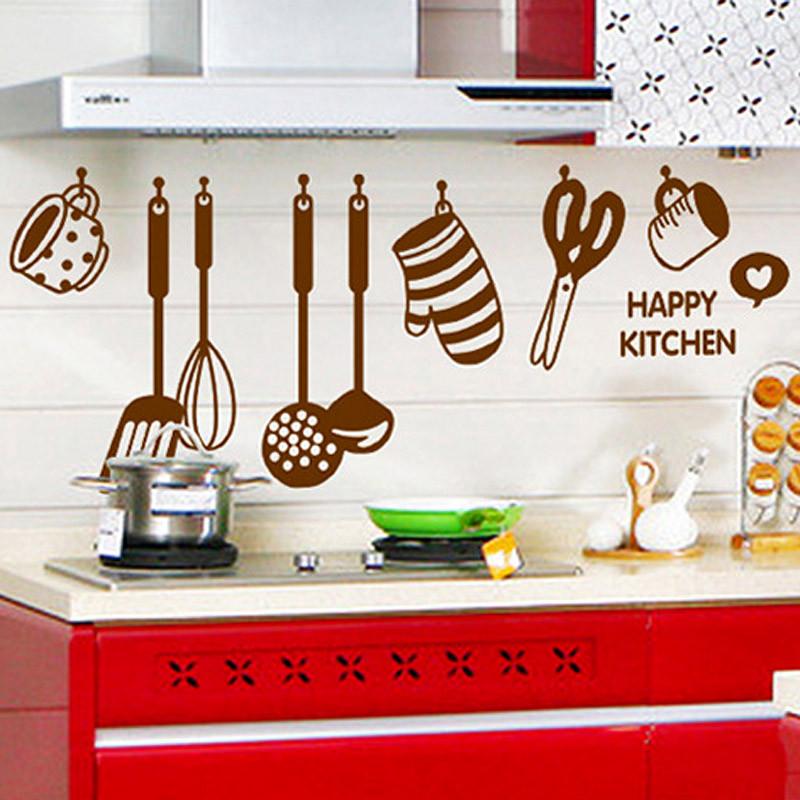 Živá Zeď Samolepka Hnědé doplňky do kuchyně 105 x 40 cm