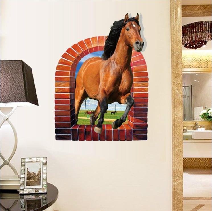 Živá Zeď Samolepka Kůň v okně %%58 x 78,5 cm