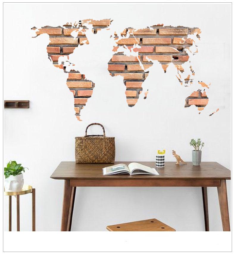 Živá Zeď Samolepka Mapa Světa z cihel 122 x 66 cm