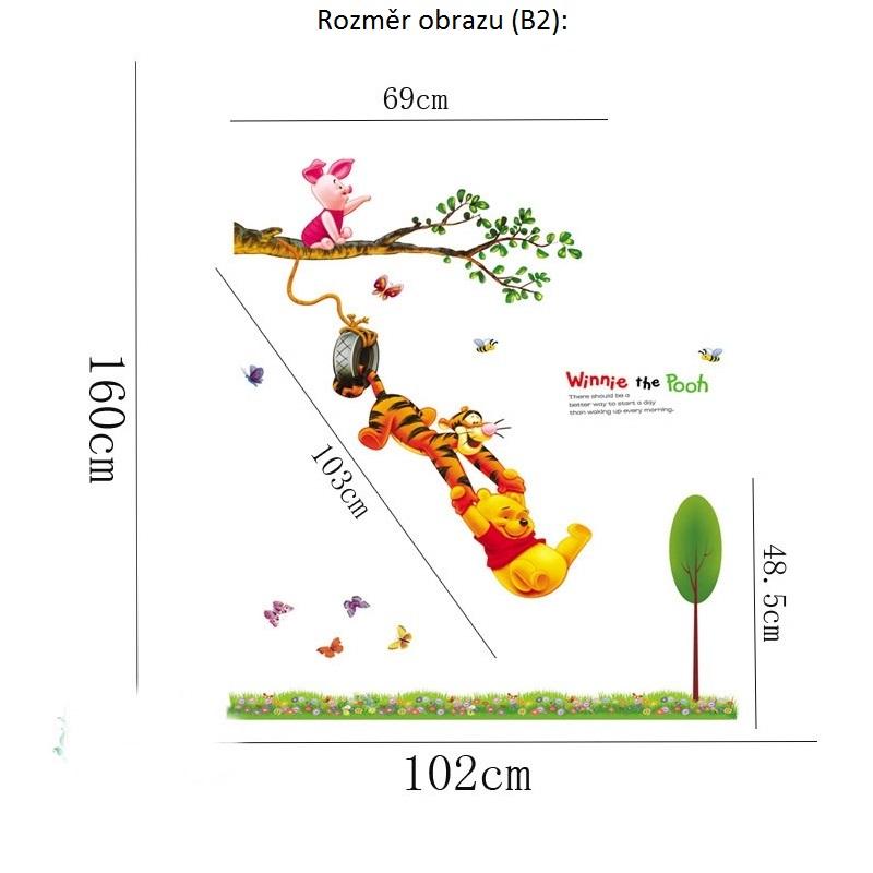 Živá Zeď samolepka Medvídek Pú na houpačce Velikost: 160 x 102 cm (s trávou)