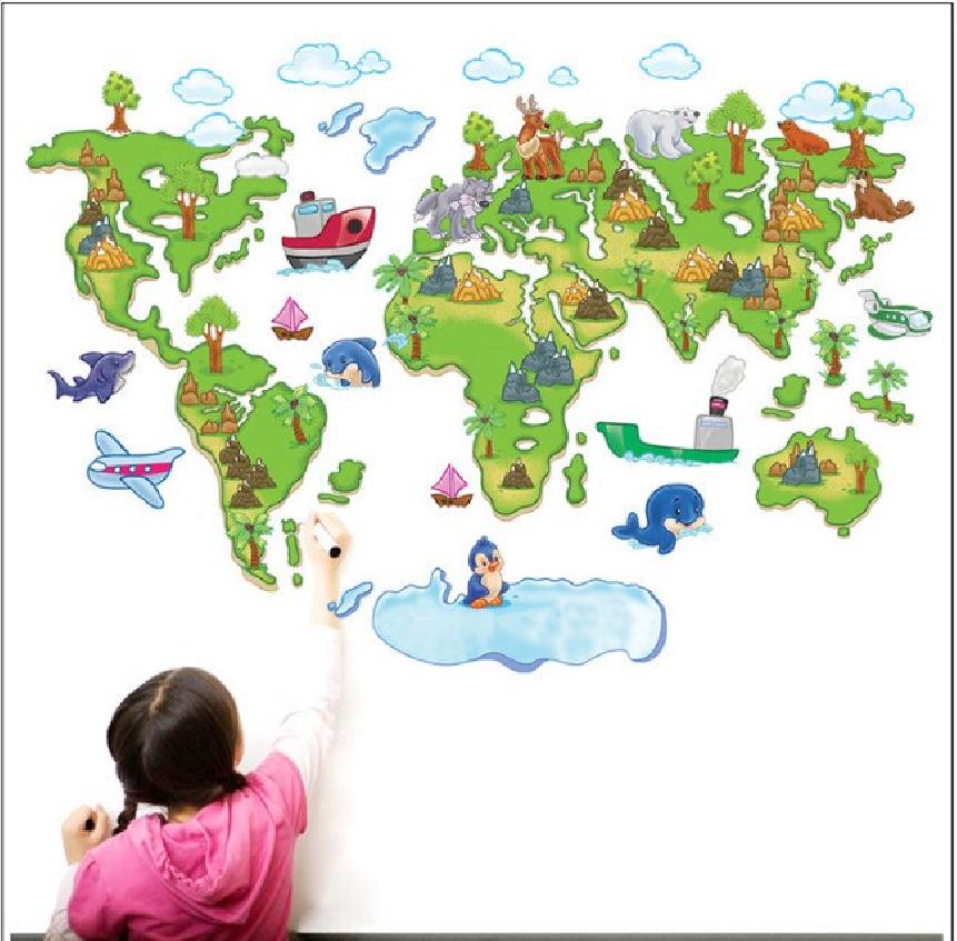 Živá Zeď Samolepka Dětská mapa Světa pro děti 120 x 80 cm