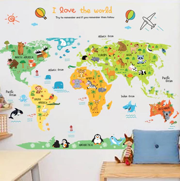 Živá Zeď Samolepka Dětská barevná mapa Světa 110 x 86 cm