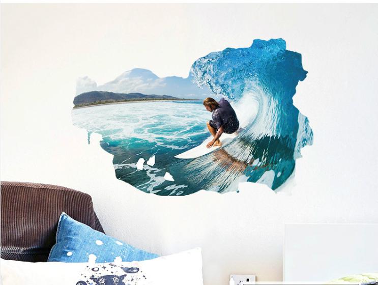 Živá Zeď Samolepka Surfař na vlně 90 x 60 cm