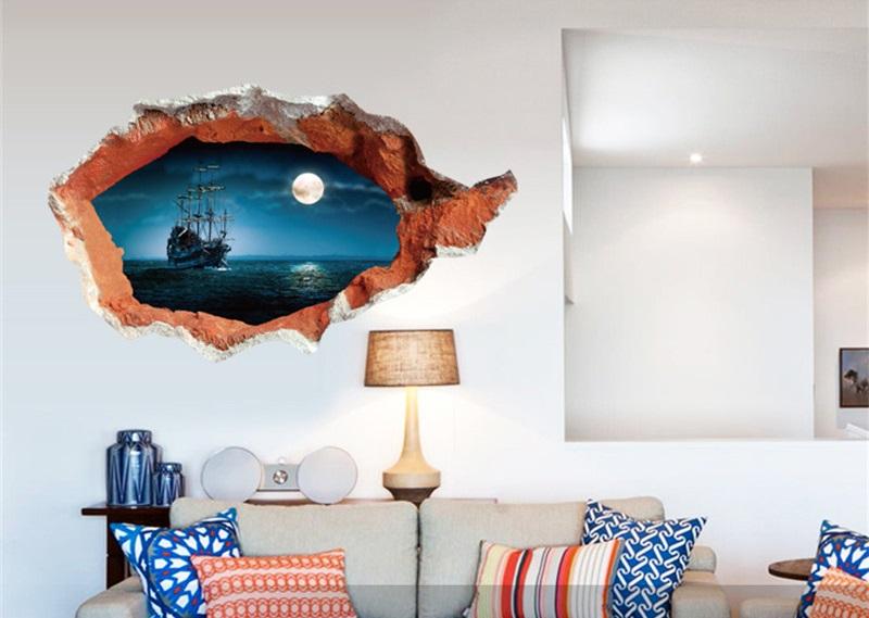 Živá Zeď Samolepka Plující loď při úplňku 70 x 100 cm %%113 x 67cm