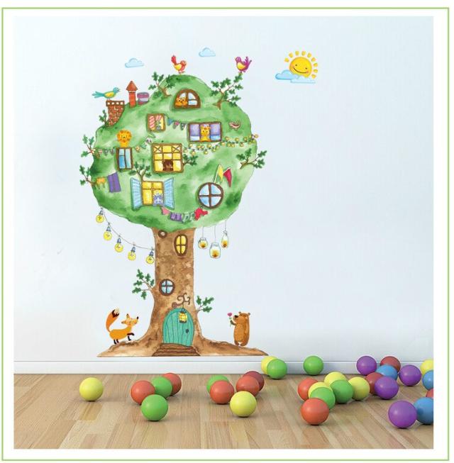 Živá Zeď Samolepka Strom s okénky 120 x 65 cm