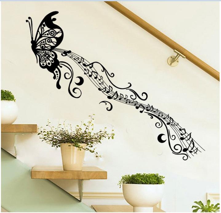 Živá Zeď Samolepka Motýl s notami 170 x 50 cm