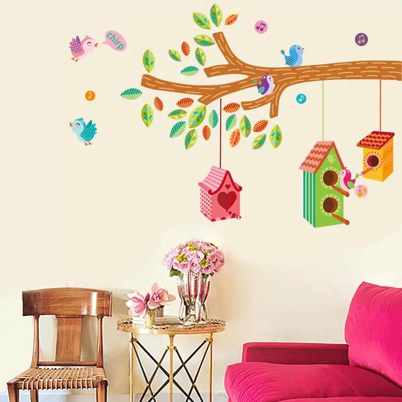 Živá Zeď Samolepka Barevné ptačí budky 120 x 100 cm