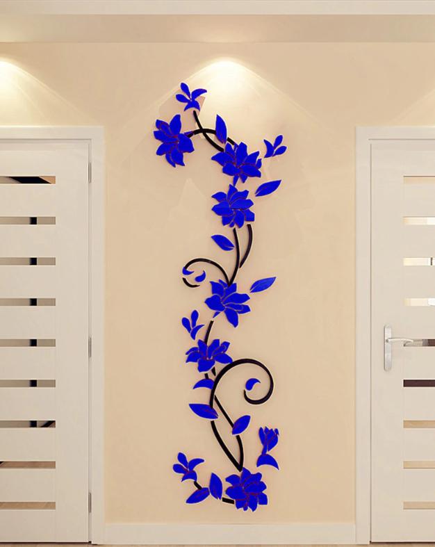 Živá Zeď Samolepka Modré 3D Kytky Velikost: S-80 x 25 cm