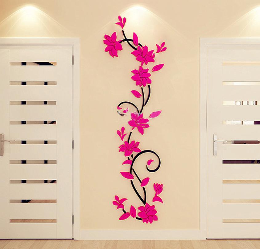 Živá Zeď Samolepka Tmavě růžové 3D Kytky Velikost: L-120 x 40 cm