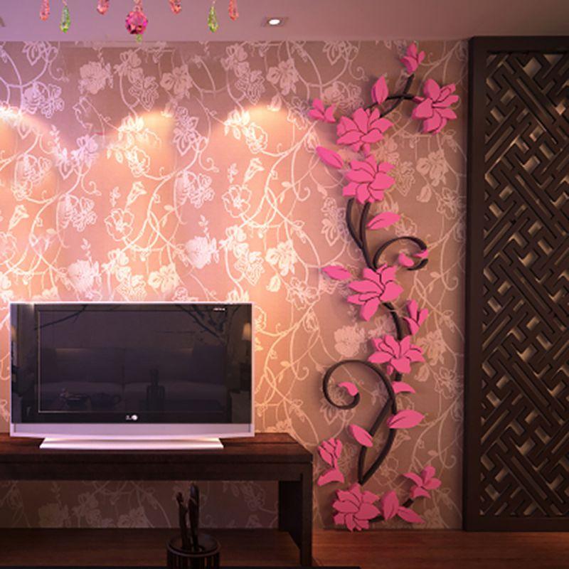Živá Zeď Samolepka Světle růžové 3D Kytky Velikost: S-80 x 25 cm