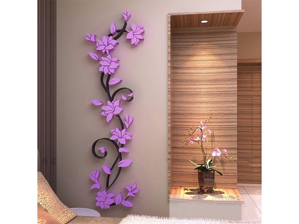 Živá Zeď Samolepka Světle fialové 3D Kytky Velikost: L-120 x 40 cm