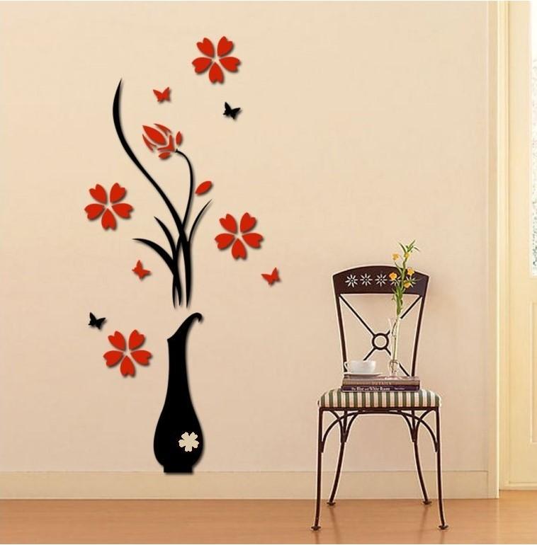 Živá Zeď Samolepka Červené 3D Kytky ve váze Velikost: M -100 x 40 cm