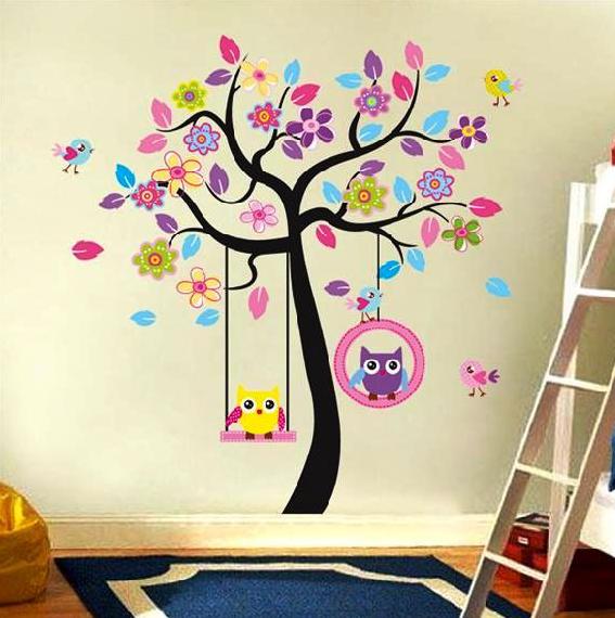 Živá Zeď Samolepka Strom se soví houpačkou 170 x 160 cm
