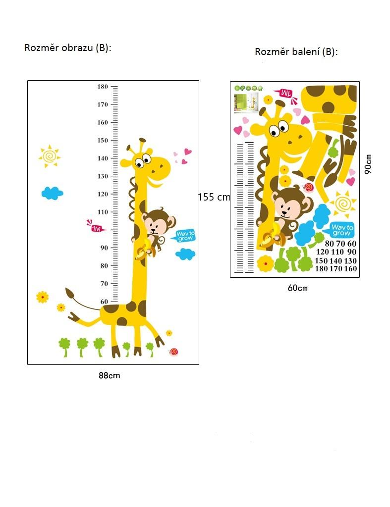Živá Zeď samolepka Metr Žirafa Velikost: 180 x 88 cm