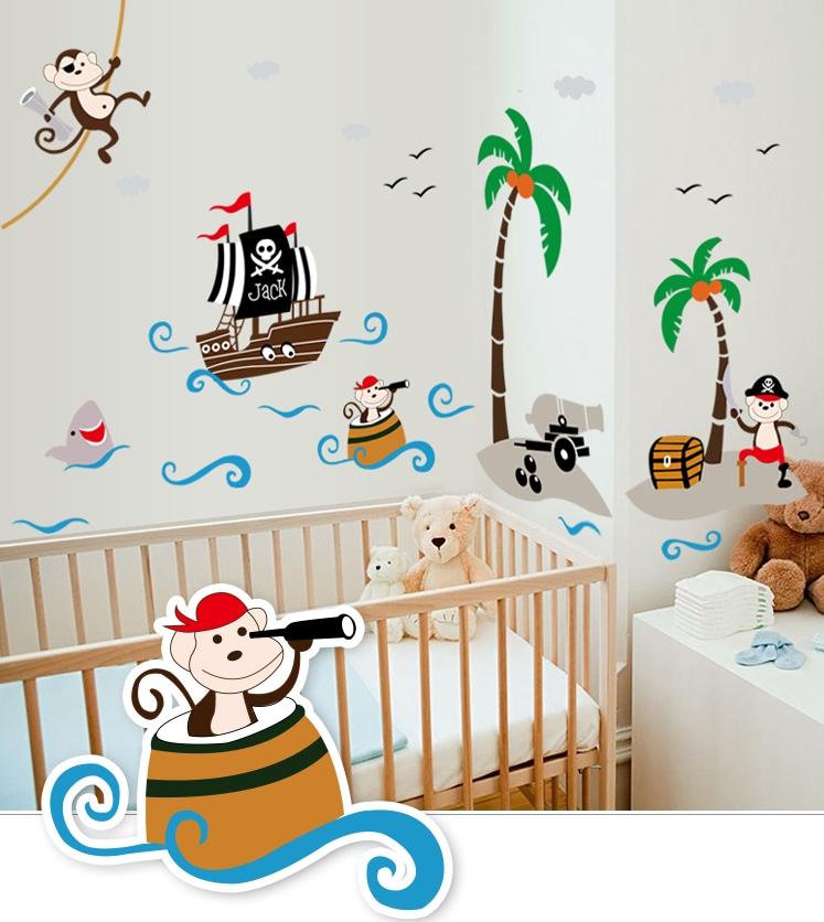 Živá Zeď Samolepka Pirátské opičky 166 x 93 cm %%