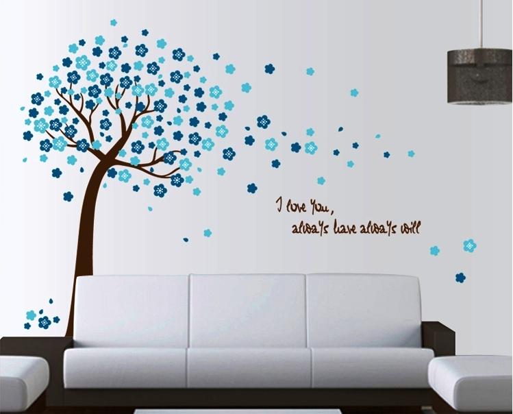 Živá Zeď Samolepka Modrý strom 120 x 150 cm