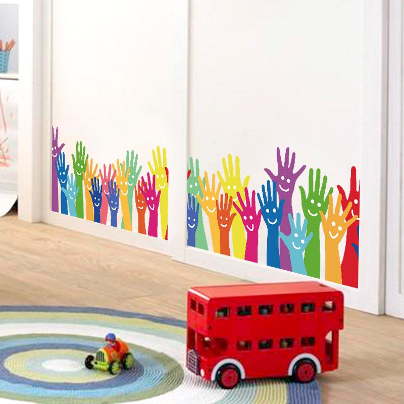 Živá Zeď Samolepka Barevné ruce 126 x 28 cm %%