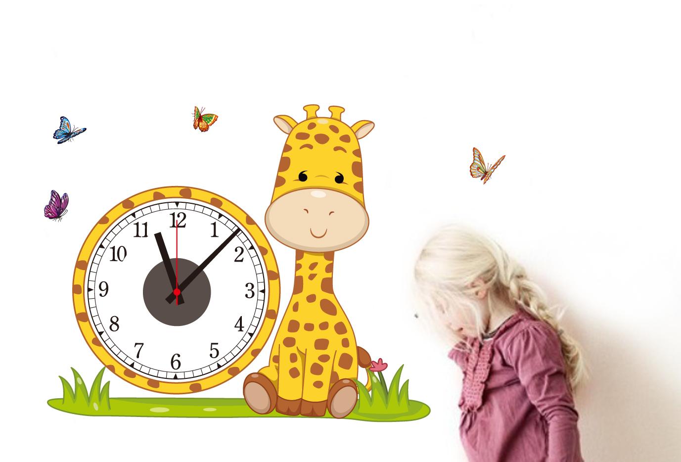 Živá Zeď Samolepící dětské hodiny Žirafa 51 x 62 cm