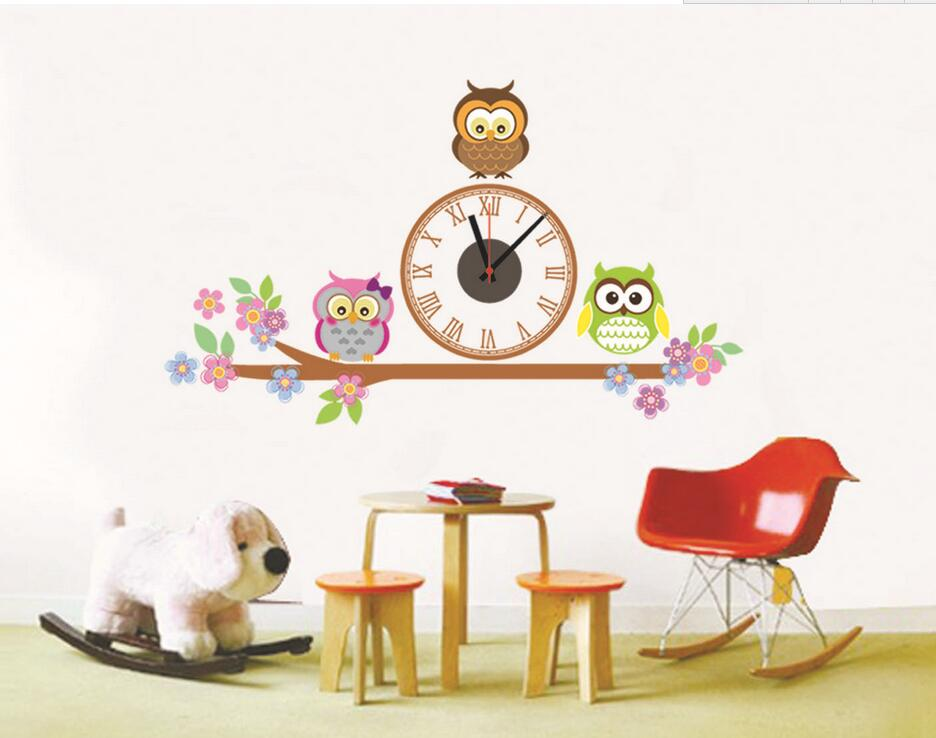 Živá Zeď Samolepící dětské hodiny Sovičky 56 x 93 cm