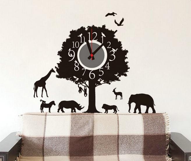 Živá Zeď Samolepící dětské hodiny Afrika 69 x 62 cm