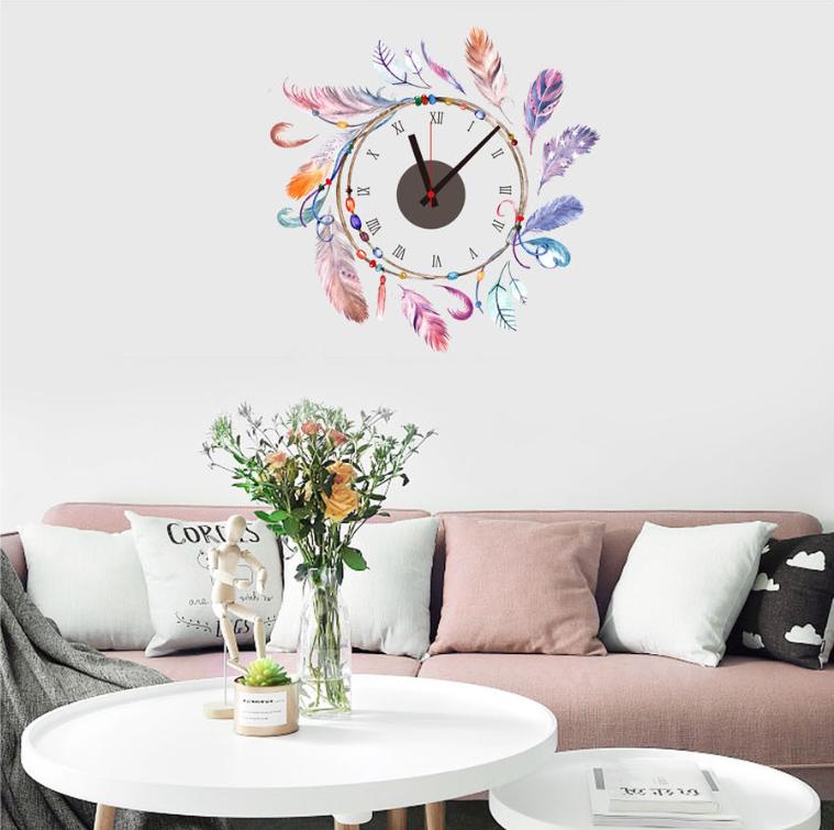 Živá Zeď Samolepící dětské hodiny Lapač snů 50 x 47 cm