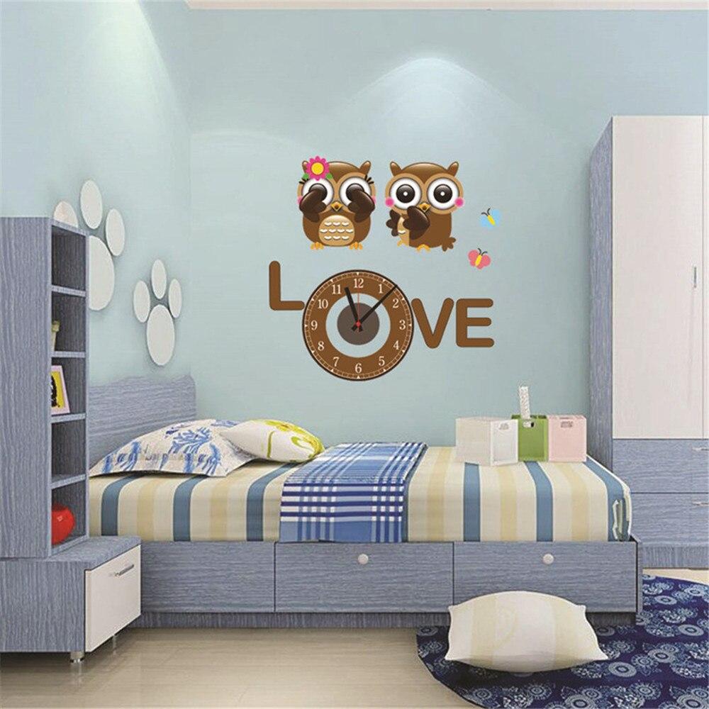 Živá Zeď Samolepící dětské hodiny Zamilované sovičky 56 x 55 cm