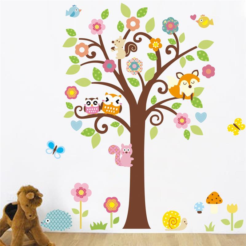 Živá Zeď samolepka Strom se zvířátky 135 x 115 cm