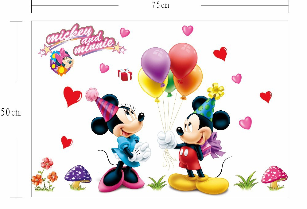 Živá Zeď samolepka Mickey Mouse a Minnie Velikost: 50 x 75 cm