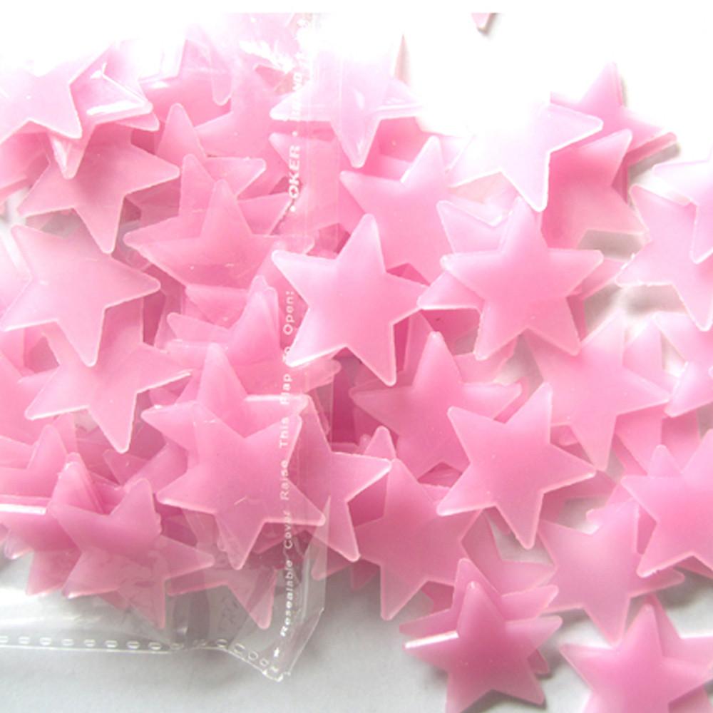 Živá Zeď Svítící fosforové růžové hvězdičky 80 ks 3 x 3 cm