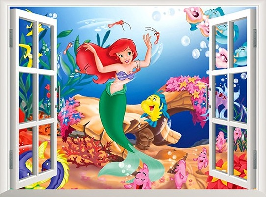 Živá Zeď samolepka Ariel mořská panna 60 x 45 cm