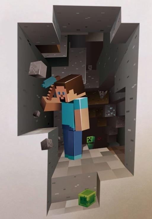 Živá Zeď samolepka Minecraft 79 x 44 cm