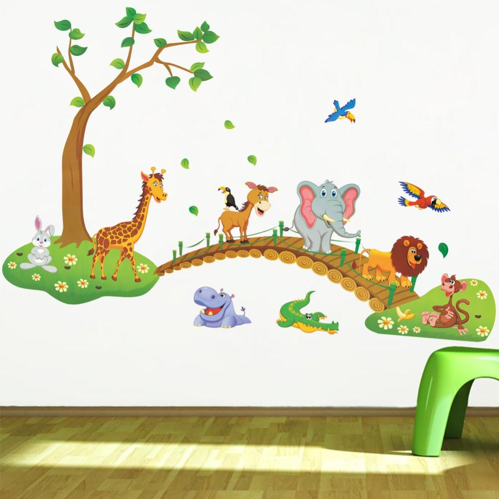 Živá Zeď Samolepka Zvířátka ze Zoo na procházce 93 x 137 cm