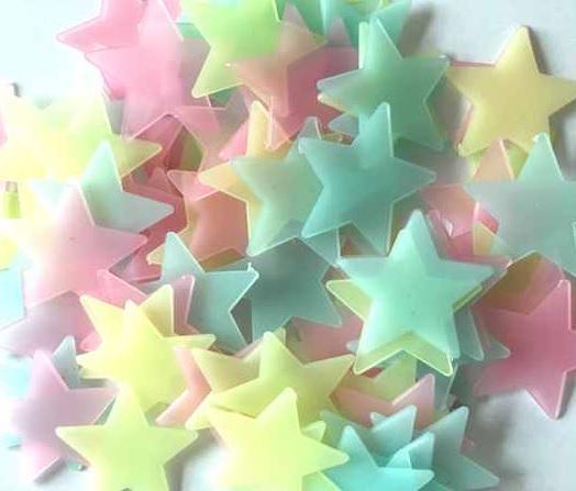Živá Zeď Svítící fosforové barevné hvězdičky 80 ks 3 x 3 cm