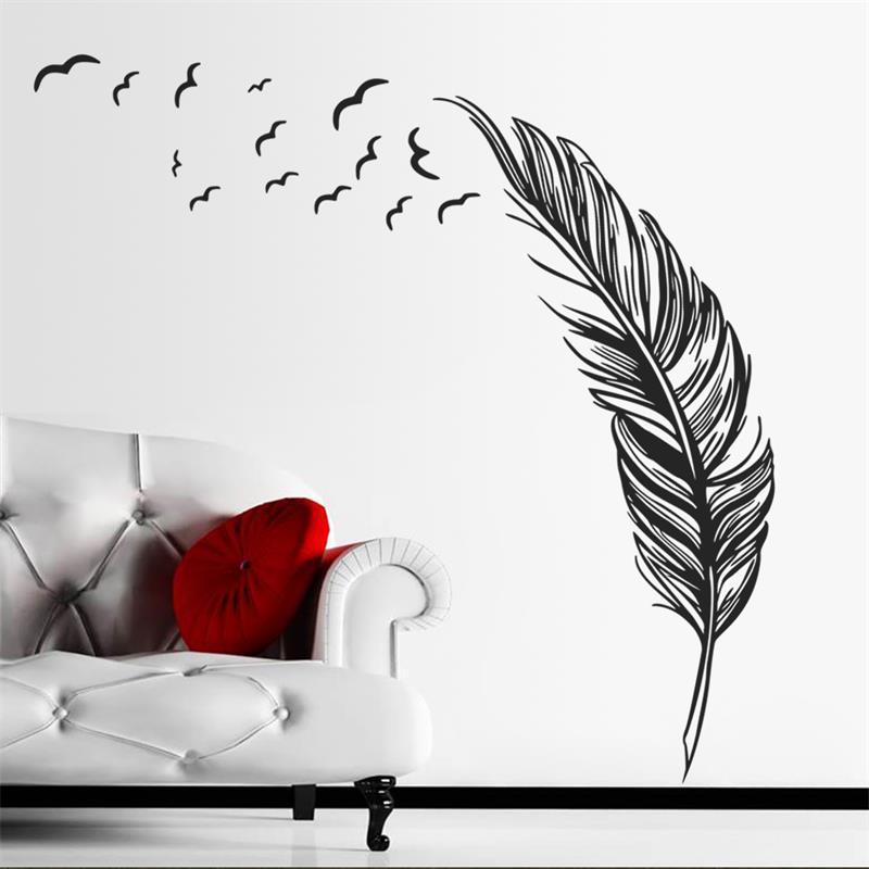 Živá Zeď Samolepka Ztracené pírko - 2 barvy Barva: Černá levá 180 x 120 cm %%