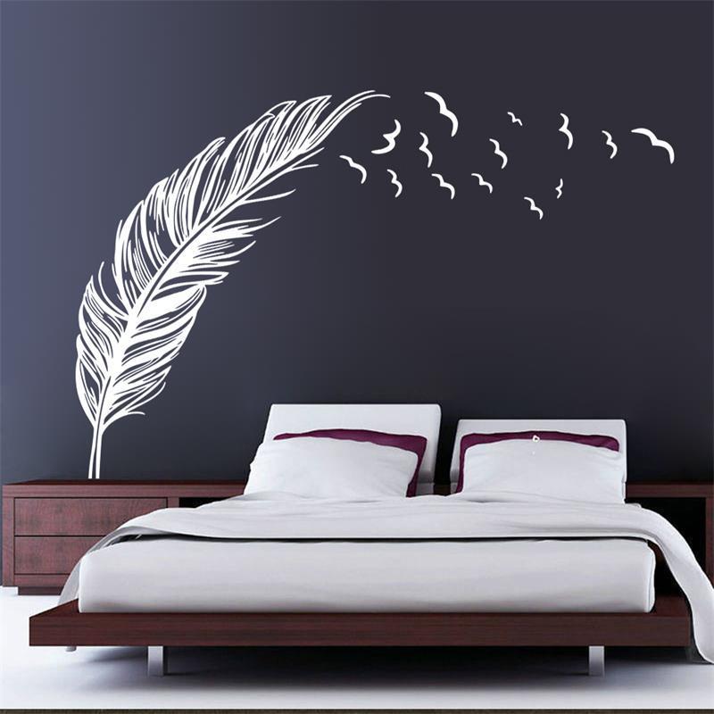 Živá Zeď Samolepka Ztracené pírko - 2 barvy Barva: Bílá pravá 180 x 120 cm %%