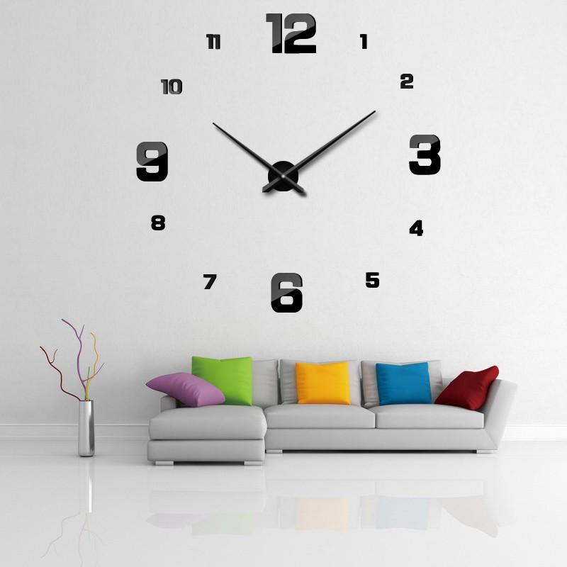Živá Zeď Velké černé samolepící nástěnné hodiny 100 cm