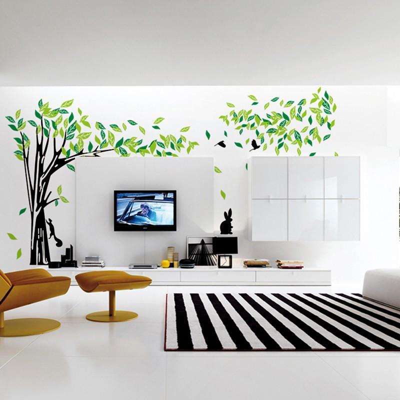 Živá Zeď Samolepka Velký zelený strom 215 x 394 cm
