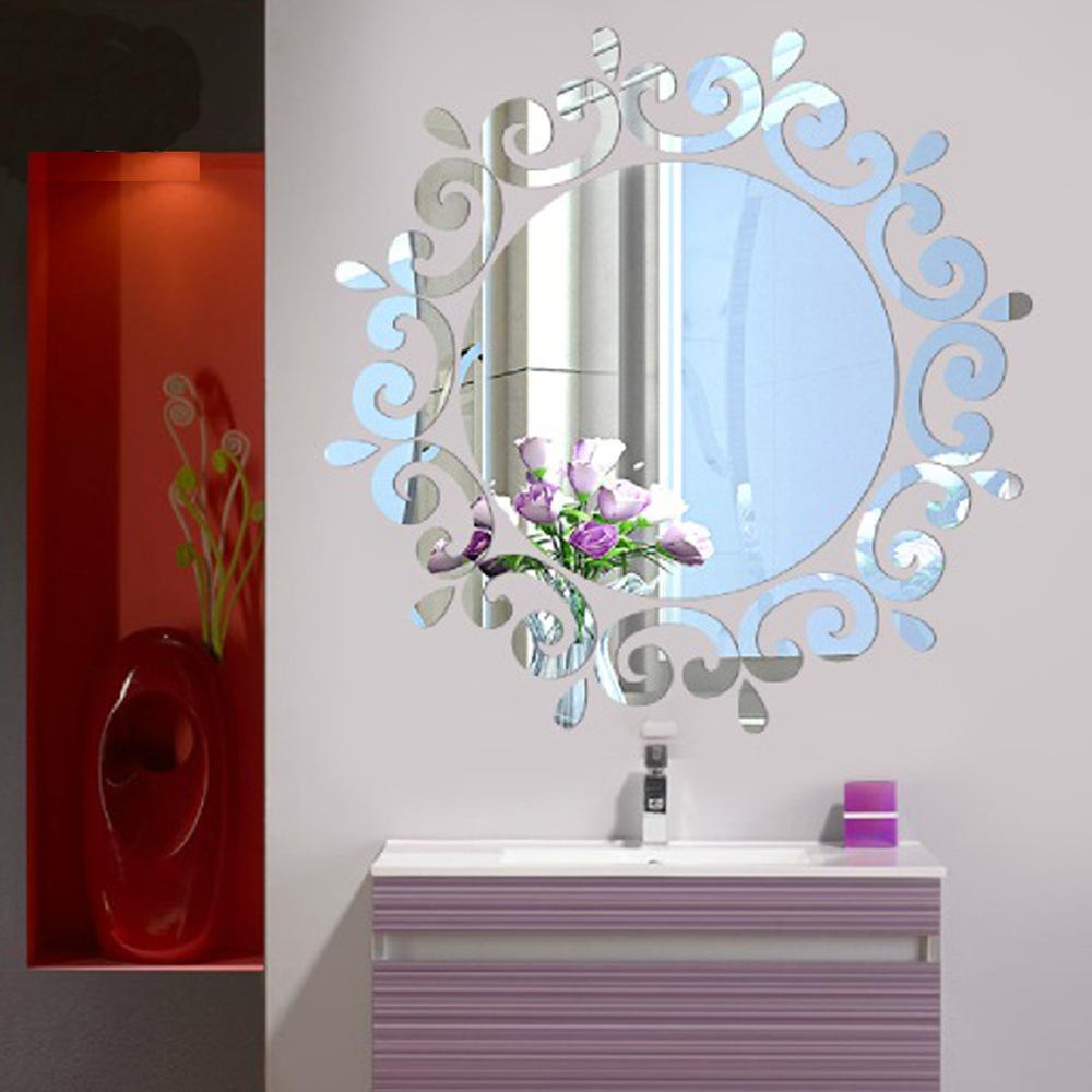 Živá Zeď Samolepicí zrcadlo kulaté - 2 barvy Barva: Stříbrná 46 x 46 cm