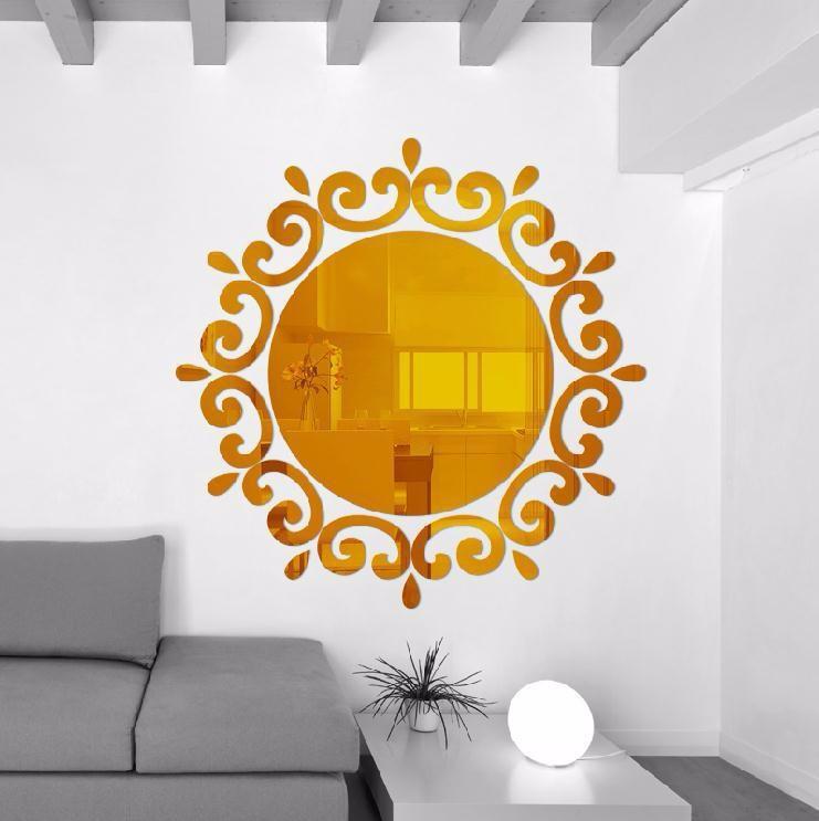 Živá Zeď Samolepicí zrcadlo kulaté - 2 barvy Barva: Zlatá 46 x 46 cm