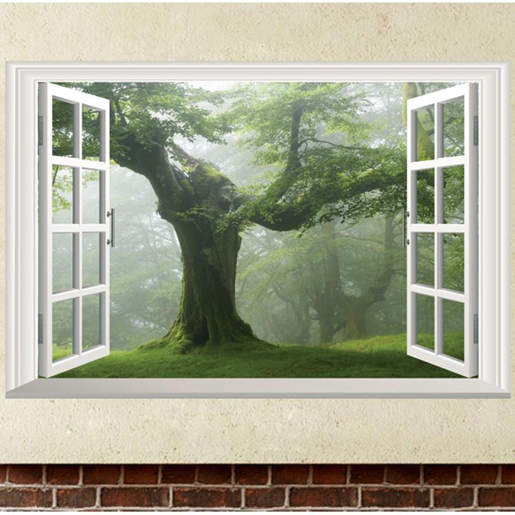Živá Zeď samolepka Les za oknem 60 x 40 cm