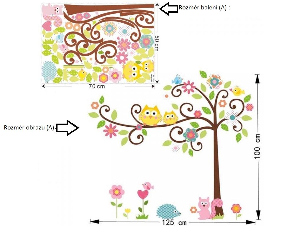 Živá Zeď Samolepka Sovy na stromě Velikost: 100 X 125 cm