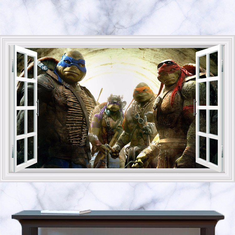 Živá Zeď Samolepka Želvy Ninja za oknem 60 x 90 cm