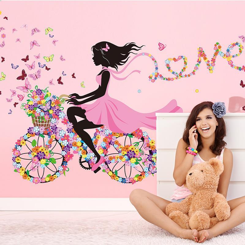 Živá Zeď samolepka Dívka na kole 60 x 90 cm