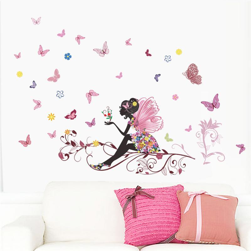 Živá Zeď Samolepka Víla s motýlky 70 x 50 cm