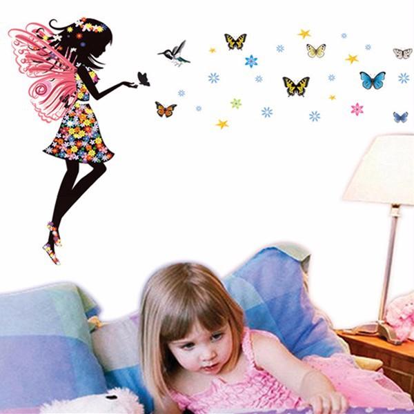 Živá Zeď samolepka Víla a motýlci 70 x 50 cm