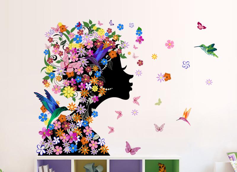 Živá Zeď samolepka Květinová dívka 60 x 48 cm