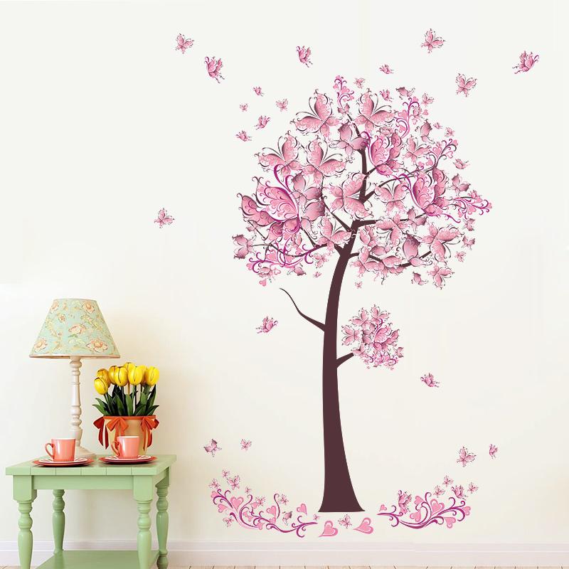 Živá Zeď samolepka Růžový strom motýlů 100 x 70 cm