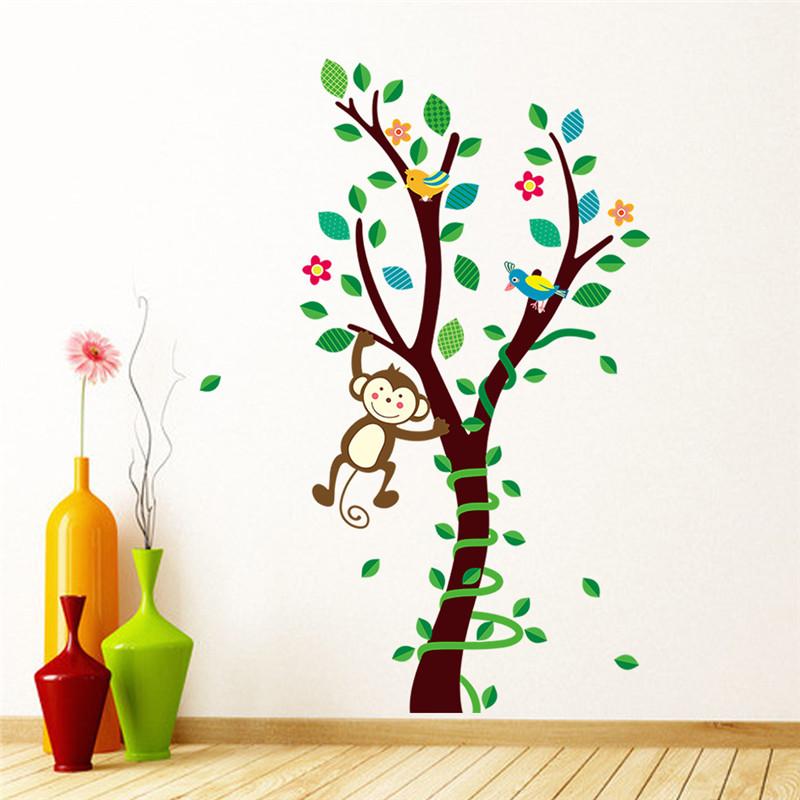 Živá Zeď samolepka Stromeček s opičkou 85 x 45 cm