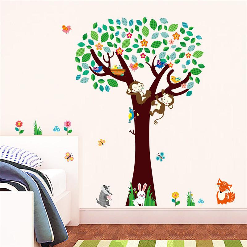 Živá Zeď samolepka Strom s opičkami a zvířátky 135 x 124 cm